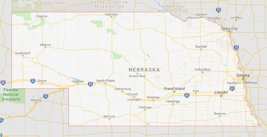 State map of Nebraska