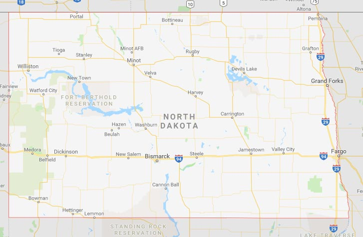 State map of North Dakota