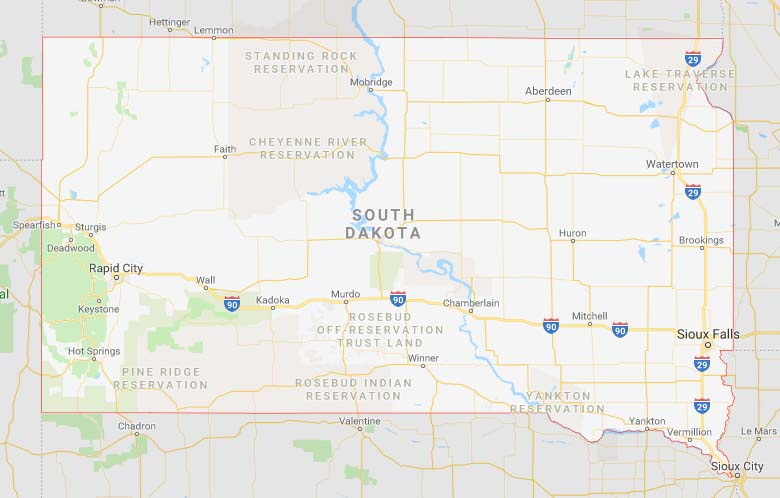 State map of South Dakota